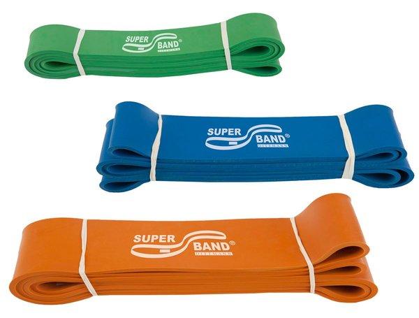 Dittmann SUPERBAND 3er Kombi Grün, Blau, Orange Gymnastikband, Reha,Therapie