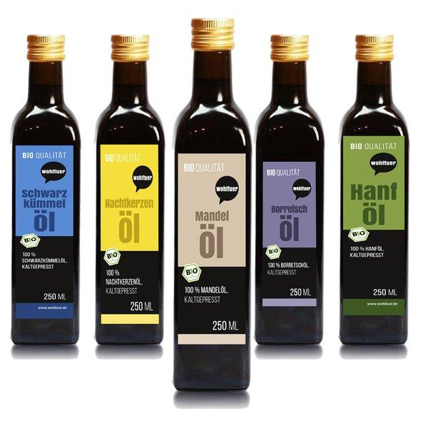 Wohltuer Testset Öle Borretschöl + Mandelöl + Nachtkerzenöl + Hanföl + Schwarzkümmelöl (5 x 250ml)