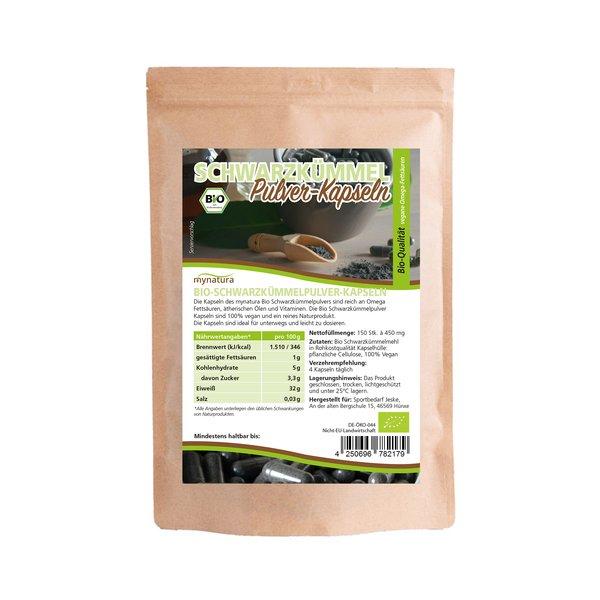 Mynatura Bio Schwarzkümmelpulver Kapseln Rohkostqualität 150 Stück