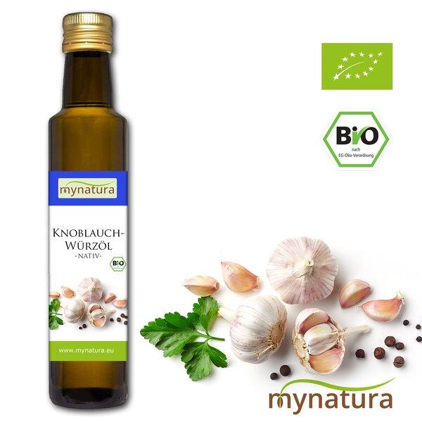 Mynatura Bio Knoblauchwürzöl ab 250ml - Knoblauchöl Knoblauch Öl Würzen Kochen Speiseöl