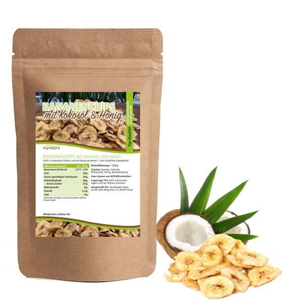 Mynatura Bananenchips mit Kokosöl und Honig, 1000g