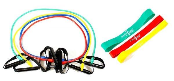 Dittmann BodyTube Gymnastikband Fitnessband mit Plastikgriffen+ Bonus Rubberband