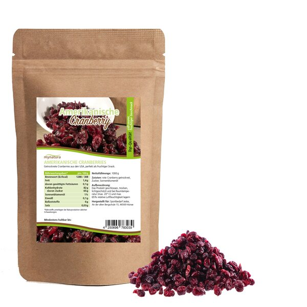 Mynatura Amerikanische Cranberries, getrocknet ab 1000g - Vitamin C Beeren Obst