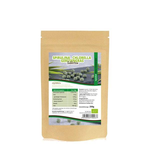 Mynatura Bio Spirulina Chlorella Gerstengras MIX 250g Tabletten