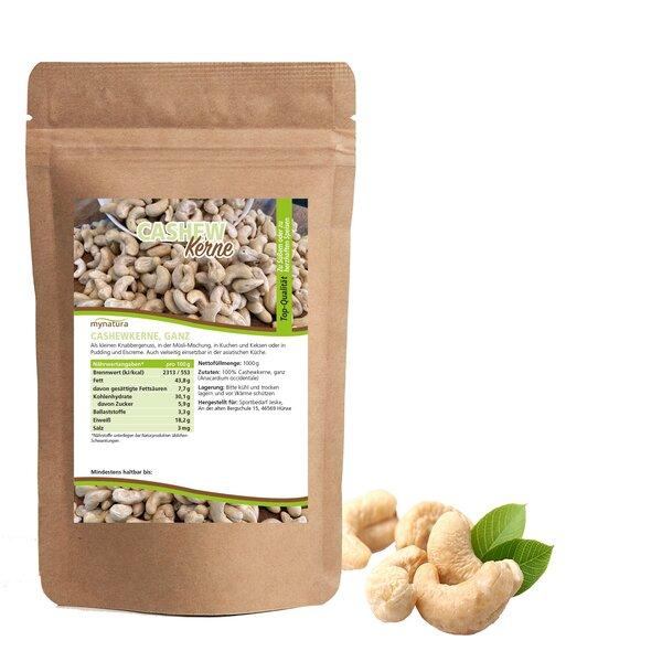 Mynatura Cashewkerne, ganz ab 1000g - Cashew Nuss Nüsse Snack