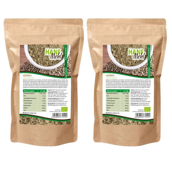 Mynatura Bio Hanfmehl Hanfsamen-Mehl Omega 3, Ballaststoffe 2000g