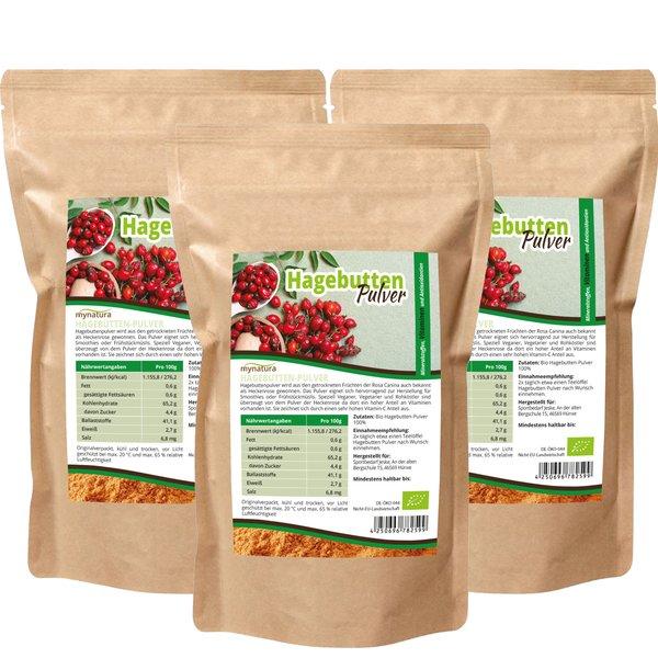 mynatura bio hagebuttenpulver vitamin c 3 x 1kg beutel