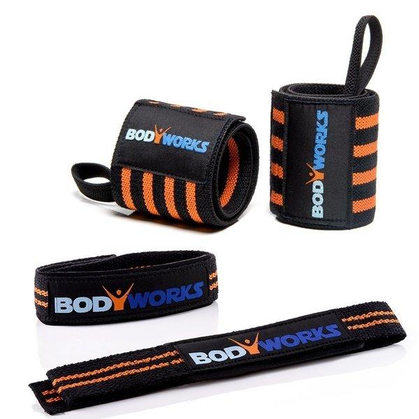 Bodybuilding Set Zughilfen mit Handgelenkbandager von Bodyworks