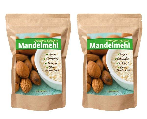 Mynatura 100% weißes Mandelmehl Doppelpack (2x 1000g Beutel)