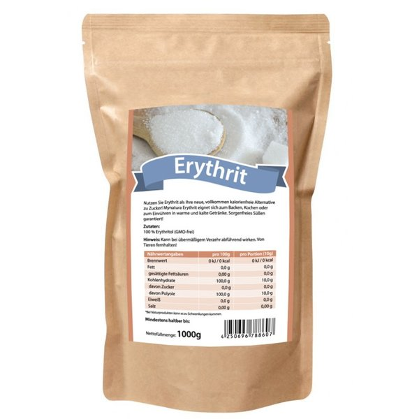 Mynatura Erythrit Zuckerersatz Kalorienfrei Süßungsmittel 1000g Beutel