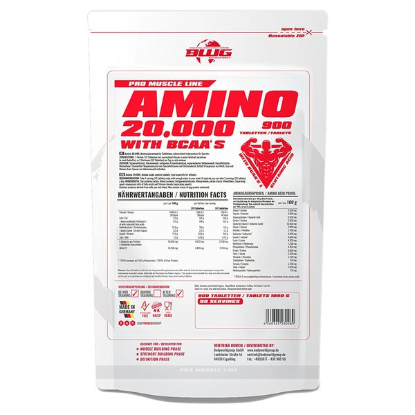 BWG Amino 20.000, +BCAAs +Glutamin, (900 Tabletten)
