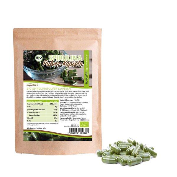 Mynatura Bio-Spirulinapulver-Kapseln 200 Kapseln