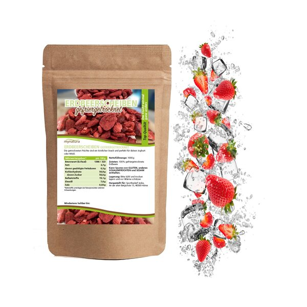 Mynatura gefriergetrocknete Erdbeerscheiben 350g Beutel