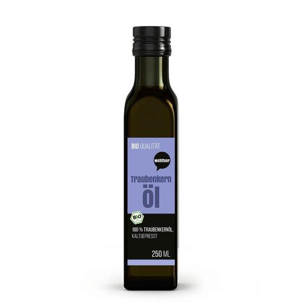 Wohltuer Traubenkernöl kaltgepresst 250ml aus kontrolliert biologischem Anbau (Frankreich)