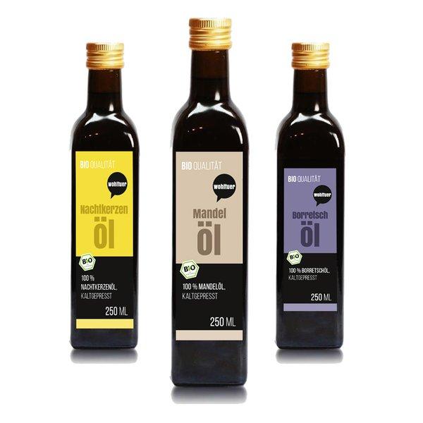 Wohltuer Testset Natur Öle Borretschöl + Mandelöl + Nachtkerzenöl 3 x 250ml
