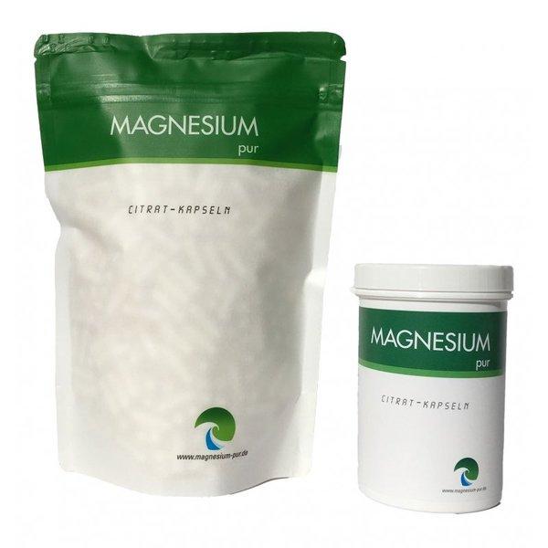 Magnesium Pur Starterset (250 Kapseln Dose + 500 Kapseln Beutel)