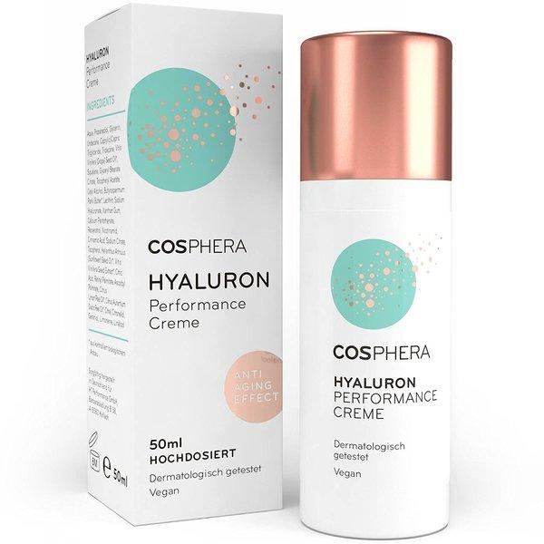Cosphera - Hyaluron Performance Creme 50 ml - vegane Tages- und Nachtcreme hochdosiert für Gesicht,