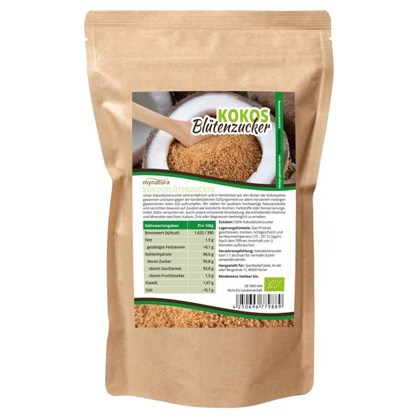Mynatura Bio Kokosblütenzucker ab 1000g Beutel - natürliches Süßungsmittel Zucker Kokos Coconut