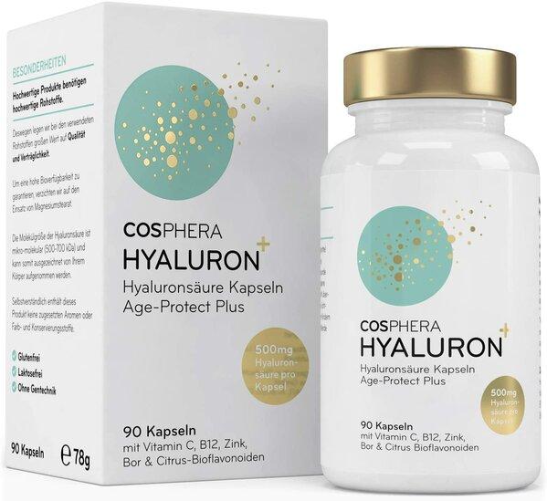 Cosphera Hyaluronsäure Kapseln - Hochdosiert mit 500 mg pro Kapsel. 90 vegane Kapseln