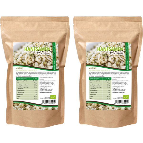 Mynatura Bio Hanfsamen Geschält ( 2x1000g ) Glutenfrei,Cholesterin, fürs Müsli,Sal