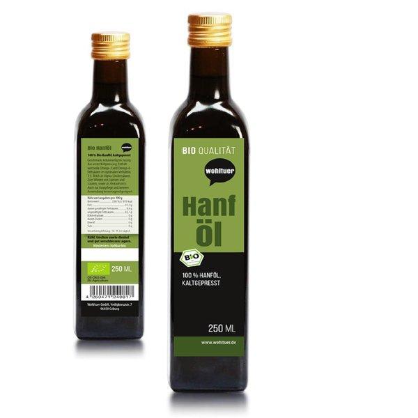 Wohltuer Hanföl kaltgepresst 250ml ,kontrolliert biologischem Anbau 250ml Flasche