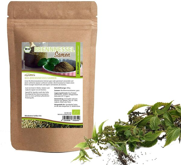 Mynatura Bio Brennnesselsamen ganz ab 300g - Für Tee Aufguss und Tinkturen