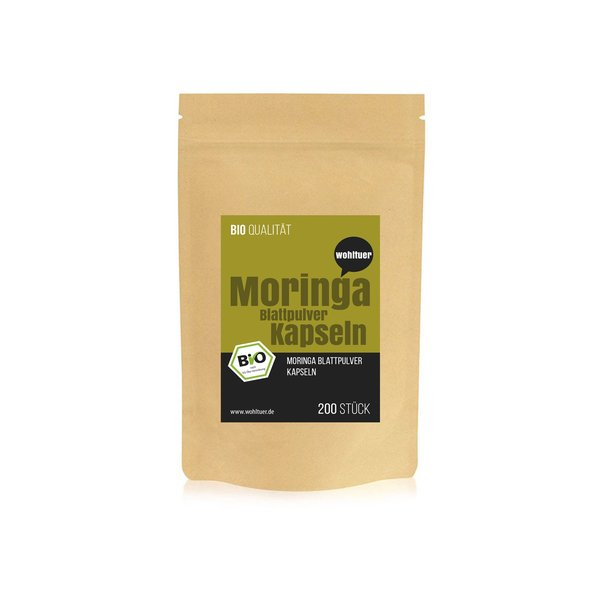 Wohltuer Bio Moringa Kapseln Moringa Olifeira - 200 vegane Bio Moringa Kapseln hochdosiert ,Rein nat