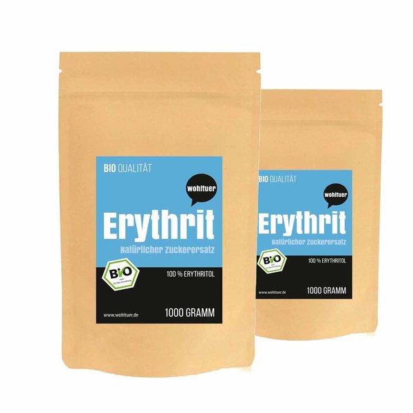 Wohltuer BIO ERYTHRIT Süßmittel | BIO: DE-ÖKO-06 | 2x 1000g SPARSET