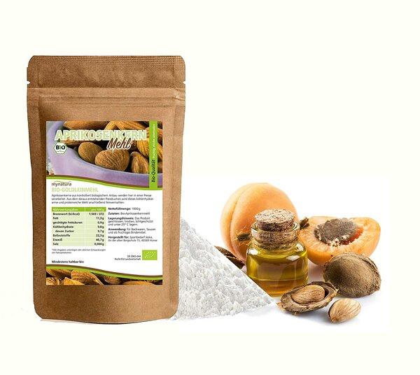 Mynatura Bio Aprikosenkern Mehl Backwaren, Sauce und als fruchtiges Bindemittel 1000g