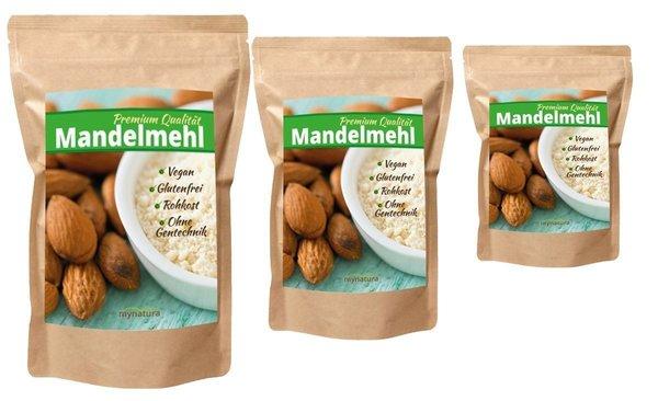 Mynatura 100% weißes Mandelmehl Sparset (3x 1000g Beutel)