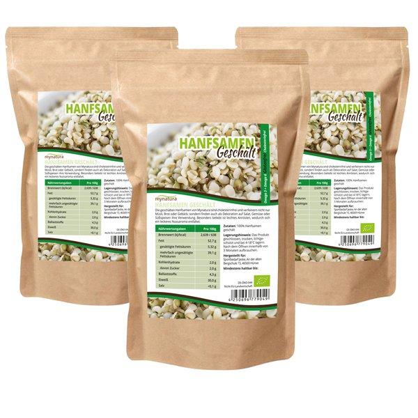 Mynatura Bio Hanfsamen Geschält (3x1000g) Glutenfrei,Cholesterinf, fürs Müsli,Salat