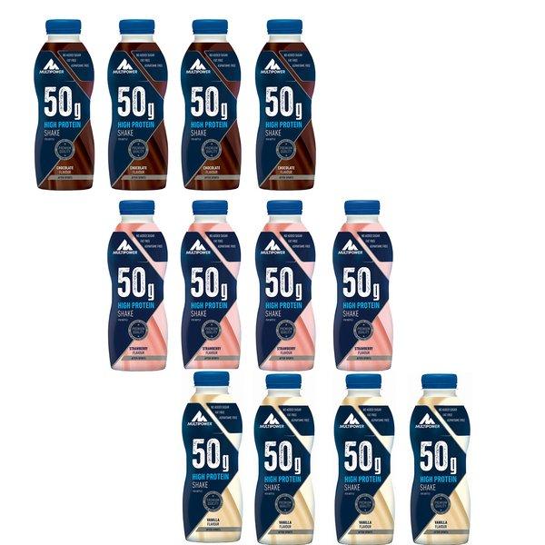 Multipower 50g Protein Shake Flaschen Eiweiß Proteindrink 12x500ml