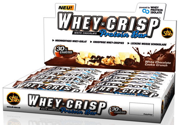 All Stars Whey-Crisp Protein Bar 24 x 50g Riegel Box
