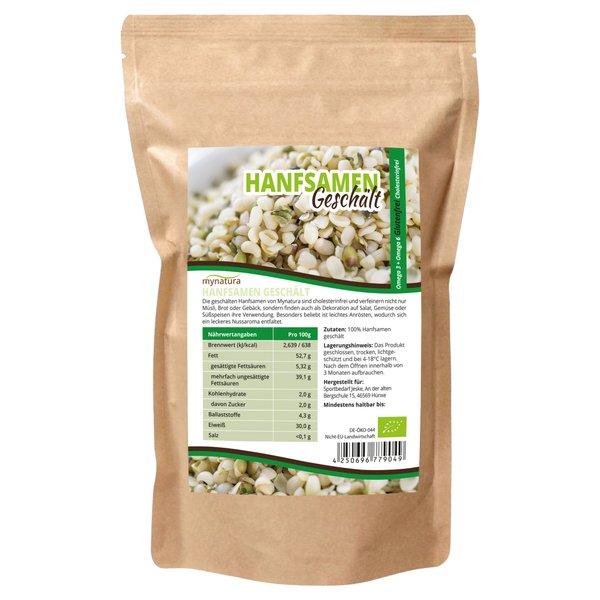Mynatura Bio Hanfsamen Geschält ab 1000g - Glutenfrei Cholesterinfrei für Müsli, Salat und mehr