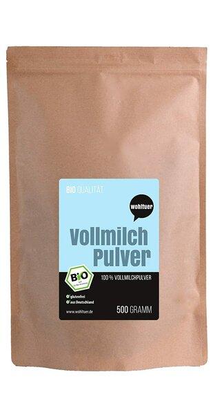 Wohltuer Bio Vollmichpulver 500g | Bio & Weidehaltung | Sehr gut löslich & frei von Zusätzen | Milch