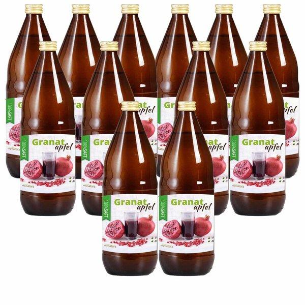 Mynatura Granatapfel Direktsaft, 100% Granatapfelsaft Vegan Muttersaft 12 x 1L