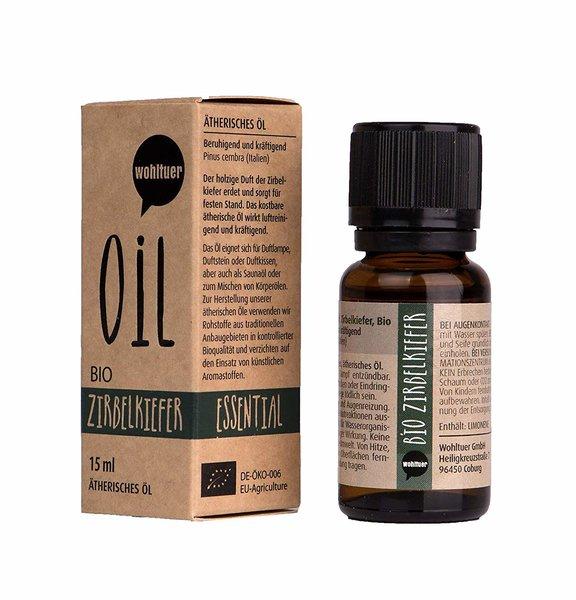 Wohltuer Bio Zirbelkiefernöl Ätherisches Öl Zirbelkiefer 15ml Organic