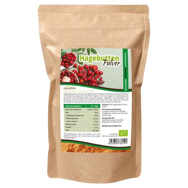 Mynatura Bio Hagebuttenpulver hoher Vitamin C Gehalt, ab 1kg Beutel - Hagebutte Wildrose