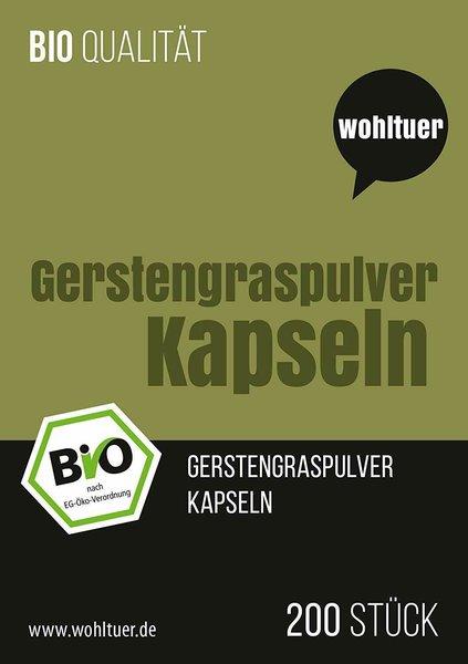 Wohltuer Bio Gerstengras Kapseln Hochwertig natürlich 200 Stück