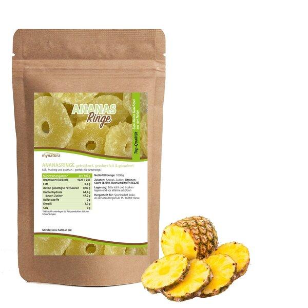 Mynatura Ananasringe, getrocknet, geschwefelt und gezuckert
