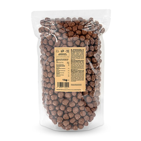 Koro Cappuccino Protein Balls | 1 kg Snack aus Erbsenprotein mit Kaffeearoma