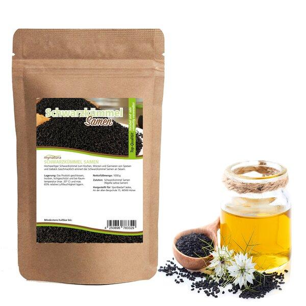Mynatura Schwarzkümmel Samen, ganz ab 1000g - Kümmel Würzen Backen