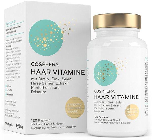 Cosphera Haar Vitamine - Hochdosiert mit Biotin, Selen, Zink, Folsäure, Hirse Samen Extrakt - 120 ve
